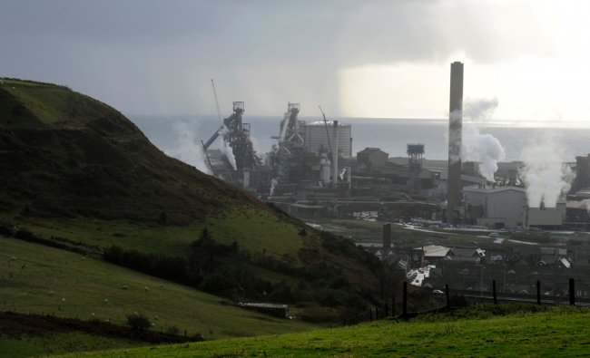 The Tata Steel plant is seen in Port Talbot, south Wales