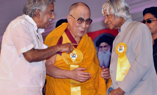 Dalai Lama ,APJ Abdul Kalam and Oommen Chandy during the Catholicate centenary celebrations