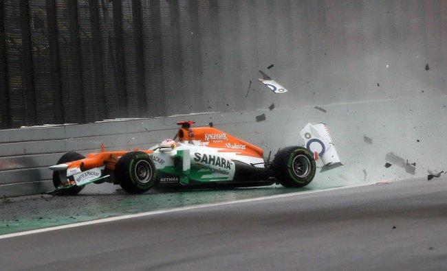Scotland Formula One driver Paul Di Resta crashes against the wall