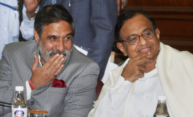 Union Ministers P Chidambaram and Anand Sharma at an all-party meeting at Parliament House in New...