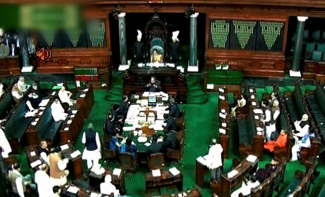 A scene in the Lok Sabha in New Delhi on Thursday during the ongoing winter session...