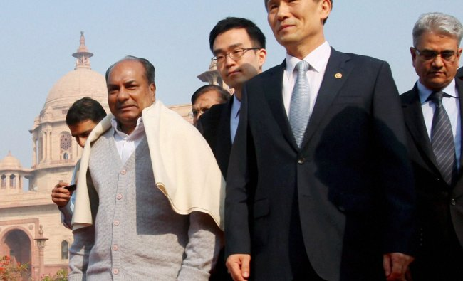 Defence Minister A K Antony with his South Korean counterpart Kim Kwan Jin in New Delhi...