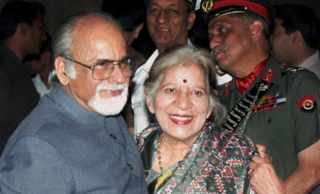 **FILE** Former Prime Minister IK Gujral with wife Sheila after taking oath in New Delhi...
