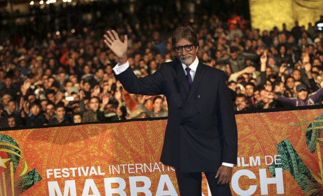 Amitabh Bachchan waves during the opening ceremony of the 12th Marrakech International Film Festival