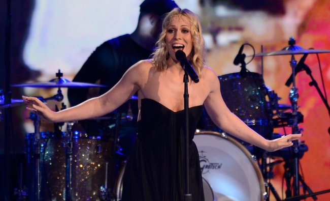 Natasha Bedingfield performs with Lifehouse during the NASCAR Sprint Cup Series...