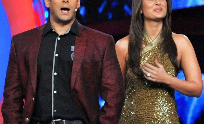 Bollywood actors Salman Khan and Kareena Kapoor on the sets of a TV reality show in Mumbai on...