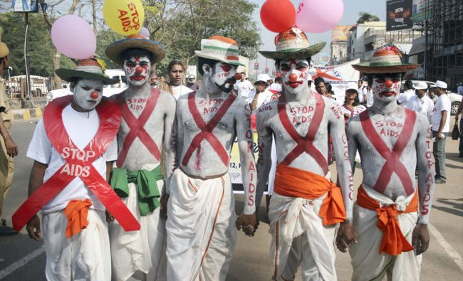 Volunteers participate in an awareness rally to mark World AIDS Day in Bhubaneshwar on Saturday.