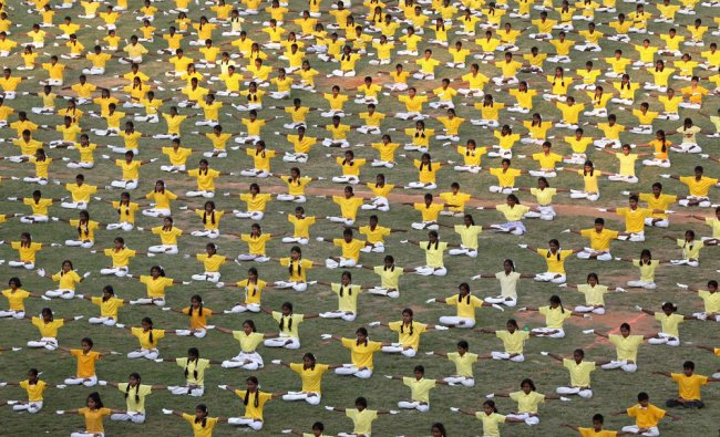Students perform Yoga during the inaugural ceremony of T20 World Cup 2012 for Blind in Bangalore...