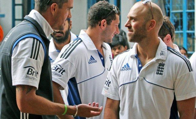 England cricketers Kevin Pietersen, and Matt Prior visit a home for street children in Kolkata...