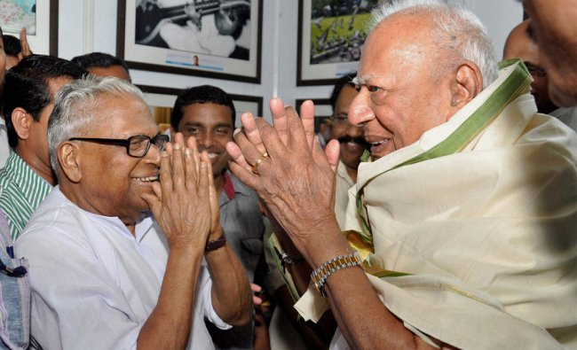 Former Kerala Chief Minister V.S. Achuthanandan and former Supreme Court Justice VR Krishna Iyer ...