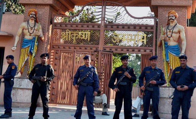 Cammandos guarding at Sri Krishna Janambhoomi temple on the anniversary of Babri mosque demolition..
