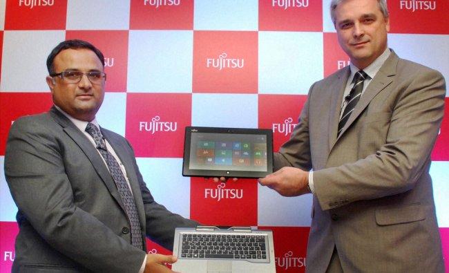 North Ladislav Orenic with Fujitsu India Country Manage Alok Sharma launching their new product...