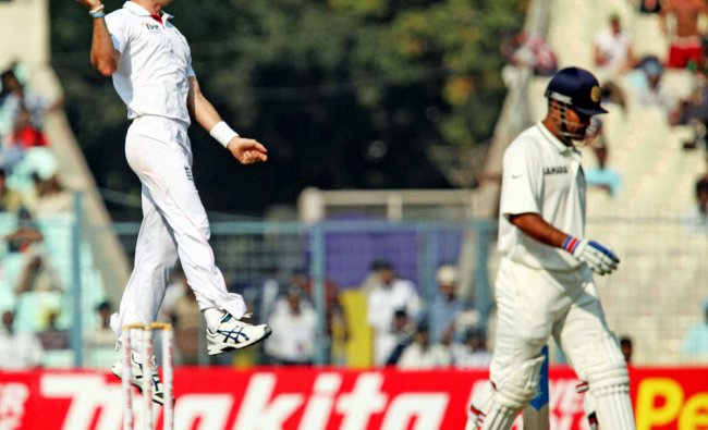 England bowler J Anderson exults after dismissing Dhoni on Day 4 of the 3rd Test Match...