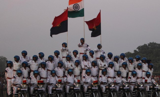 BSF daredevils perform during the Police evolution event Spandan on 150th Anniversary of Police..