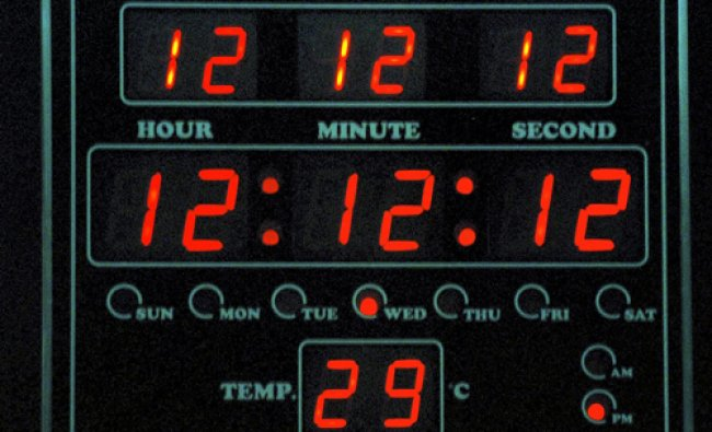 A digital clock shows the date Dec 12, 2012 and the time 12 hour 12 minutes and 12 second in...