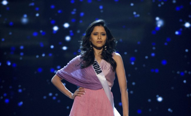 Miss India 2012, Shilpa Singh, rehearses for the 2012 Miss Universe Presentation Show in Las...