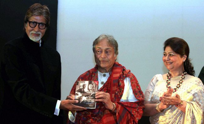 Ustad Amjad Ali Khan along with his wife and Bollywood actor Amitabh Bachchan during the launch...
