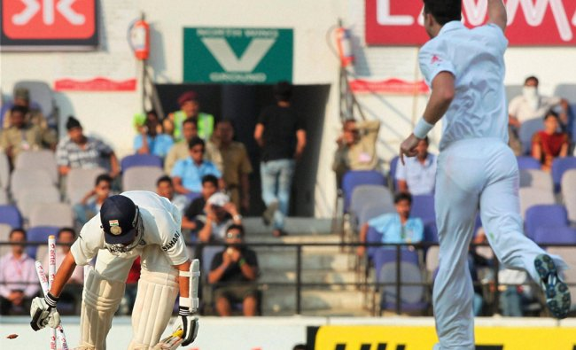 Sachin Tendulkar bowled out by James Anderson on the second day of fourth cricket test ...