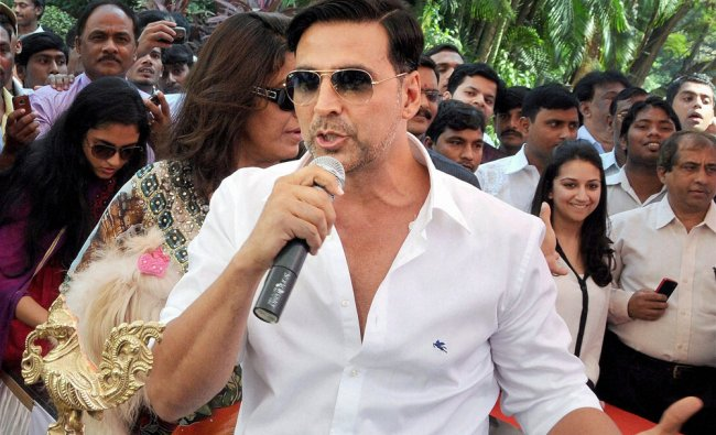 Bollywood actor Akshay Kumar speaks during inauguration of a food and wine show in Mumbai...
