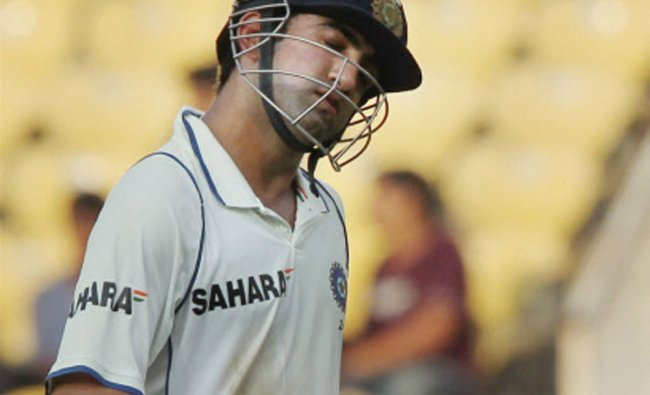 Gautam Gambhir after being dismissed by James Anderson on the second day of fourth test match...