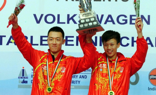 Chinese Lin Gaoyuan and XU Chenhao winners of the men doubles titel of the 10th World Table Tennis..