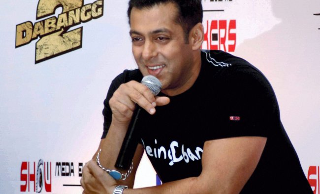 Actor Salman Khan promotes his upcoming film \'Dabanng 2\' at a press conference in Hyderabad on...