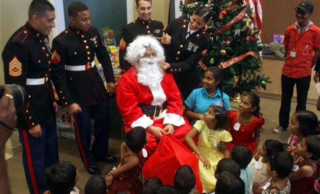US Defence personnel celebrate Christmas with underprivileged children at US Consulate in Mumbai...