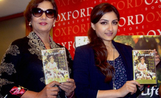 Bollywood actors Shabana Azmi and Soha Ali Khan during the launch of DVD of \'Life Goes On\', a...