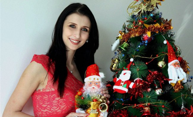 German model Claudia Ciesla poses during a special photo shoot for Christmas in Mumbai on Thursday.