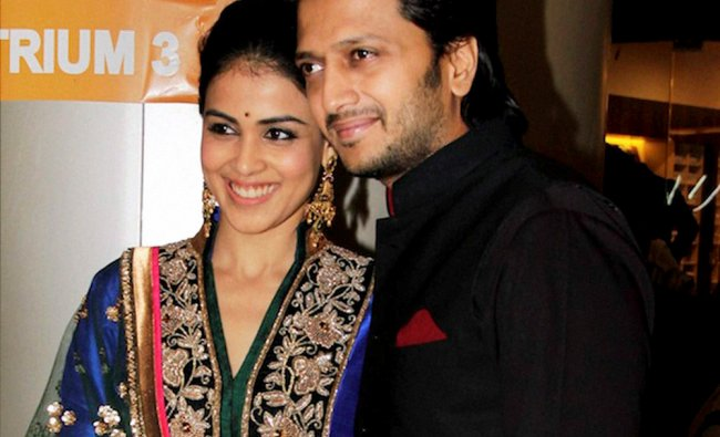 Actor couple Riteish Deshmukh and Genelia DSouza at the premiere of upcoming film \'Dabaang 2\' ...