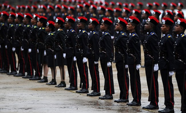 Sri Lankan army cadets stand in formation during a graduation ceremony for some 157 Sri Lankan army