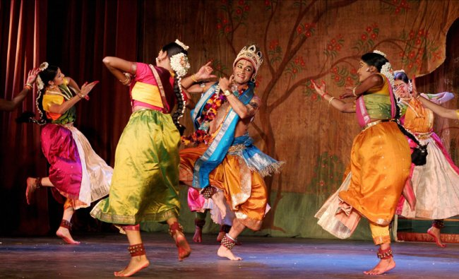 Artistes perform at the inauguration of the 60th Annual Arts Festival at Kalakshetra Foundation...