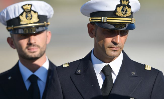 Italian marines who were allowed to go home for Christmas arrive at Ciampino airport near Rome...