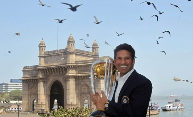 In this photograph taken on April 3, 2011, Indian cricketer Sachin Tendulkar poses with the ICC....