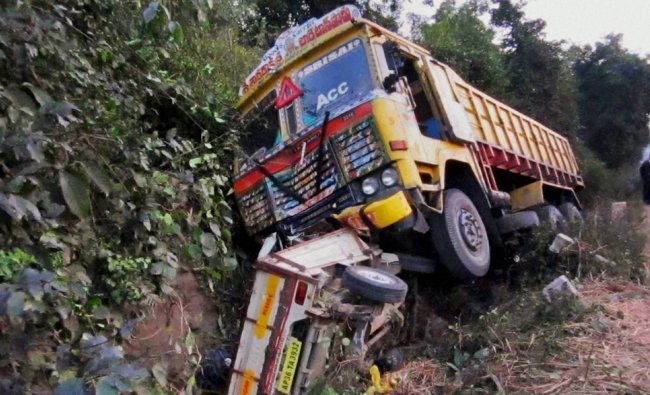 A truck and auto after an accident in Khamamam, Andhra Pradesh
