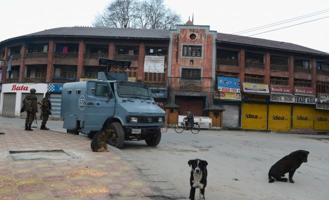Indian paramilitary troopers patrol during a one day strike in Srinagar