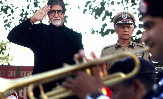 Actor Amitabh Bachchan takes part in an event celebrating closing ceremony of \'Traffic Safety...