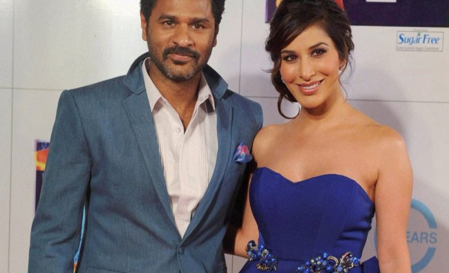 Bollywood choreographer-director Prabhu Deva with actress Sophie Chaudhary at the Zee Cine Awards...