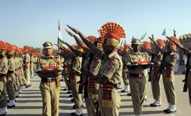 Border Security Force (BSF) cadets taking oath during their passing out parade at BSF camp in...