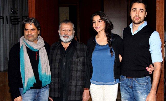 Actress Anushka Sharma poses with actors Imran Khan and Pankaj Kapoor ...