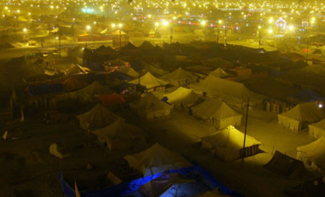 Tents of sadhus are pitched for the Maha Kumbh festival in Allahabad...