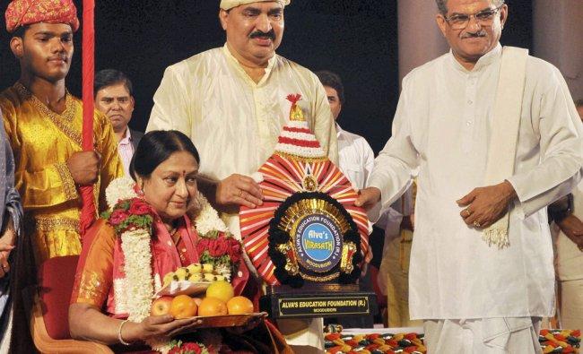 Bharatanatyam exponent Padma Subrahmanyam being honoured at the national cultural festival Alvas...