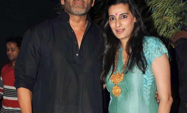 Indian Bollywood actors Sunil (L) and Mana Shetty during the inauguration of their furniture....