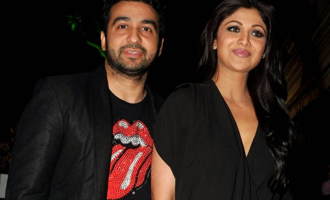 Indian Bollywood actress Shilpa Shetty and her husband Raj Kundra during the inauguration....