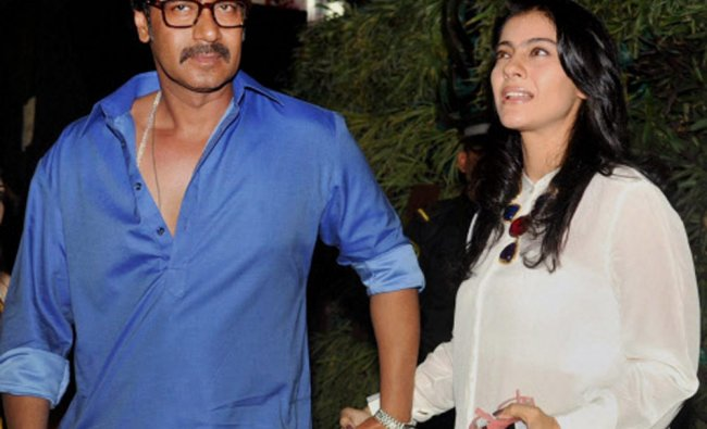 Bollywood Actor Ajay Devgn with wife Kajol during a promotional event in Mumbai...