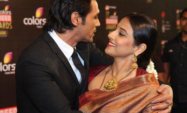 Indian Bollywood personalities Arjun Rampal and Vidya Balan during the 19th annual Colors Screen...