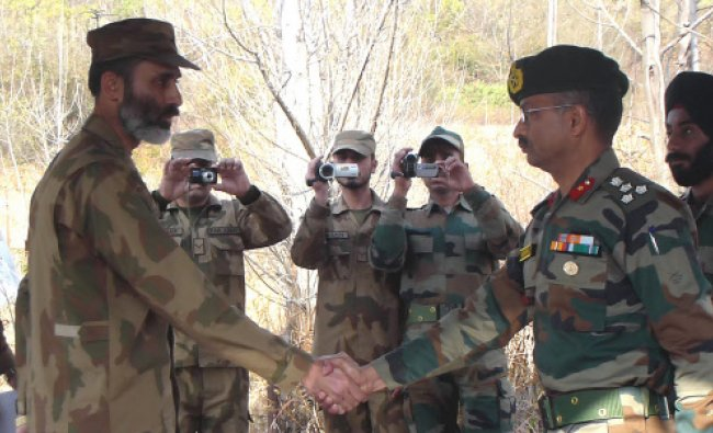 Brigadier level officers from India and Pakistan at a flag meeting...
