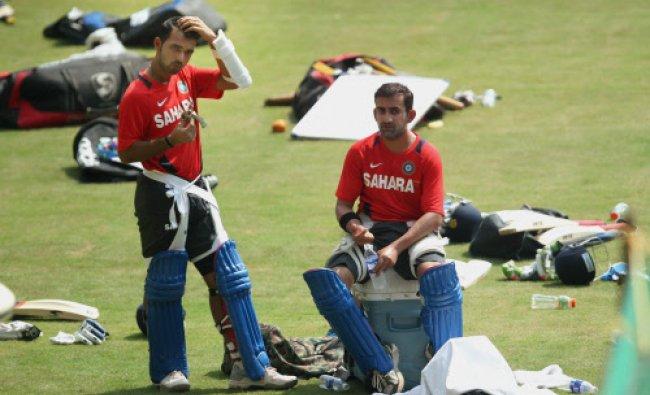 Gautam Gambhir and Ajinkya Rahane during a practice session