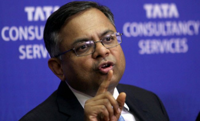 N. Chandrasekaran, Chief Executive Officer & Managing Director of TCS during the announcement...