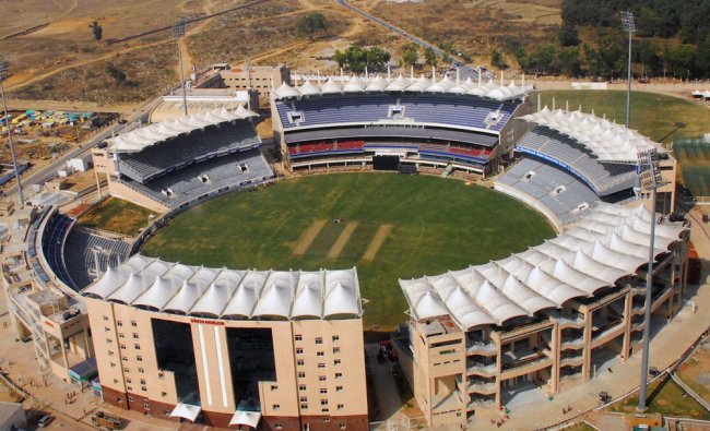 An Aerial view of JSCA International Stadium ahead of 3rd ODI between India and England...